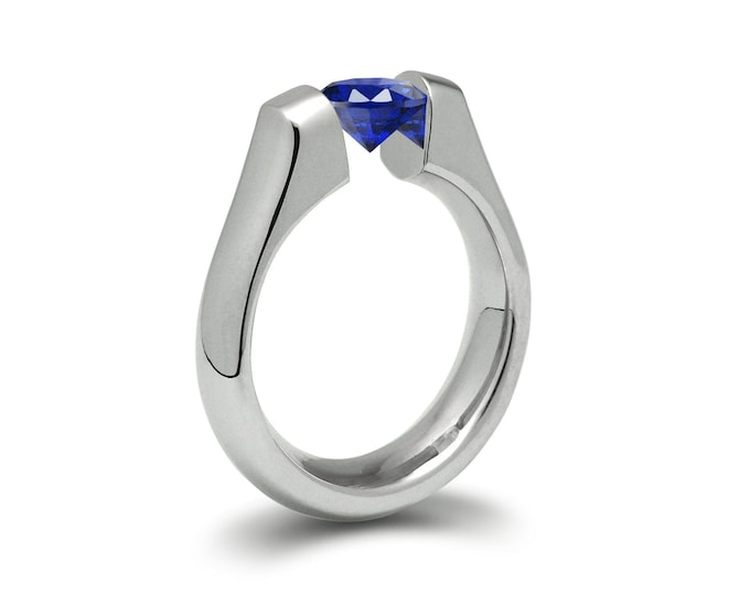 1.5ct Blue Sapphire High setting Tension Set Engagement Ring by Taormina Jewelry