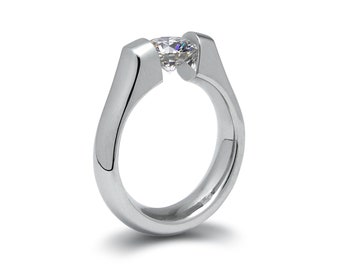 0.75ct White Sapphire Tension Set Steel Engagement Ring by Taormina Jewelry