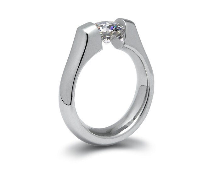 1.5ct White Sapphire Engagement Ring Tension Set in Stainless Steel by Taormina Jewelry