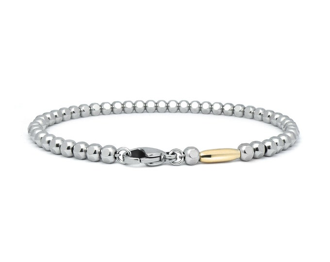 3 mm Thin Stainless Steel & Gold Hex Nuts Bracelet by Taormina Jewelry
