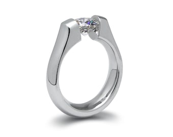 1ct White Sapphire Tension Set Steel Engagement Ring by Taormina Jewelry
