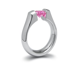 1ct Pink Sapphire Tension Set Steel Engagement Ring by Taormina Jewelry