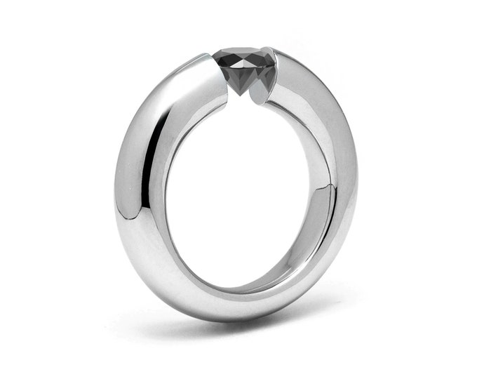 1ct Black Diamond Tension Set Tapered Engagement Ring in Stainless Steel by Taormina Jewelry