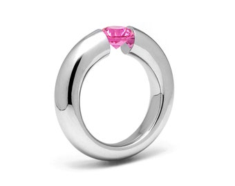 1.5ct Pink Sapphire Tension Set Tapered Engagement Ring in Stainless Steel by Taormina Jewelry