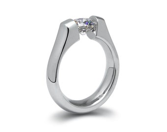 2ct White Sapphire Engagement Ring Tension Set in Stainless Steel by Taormina Jewelry