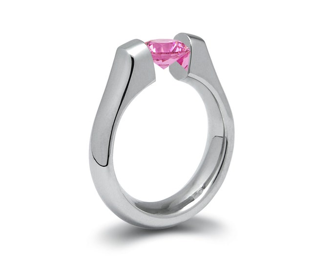 1.5ct Pink Sapphire Tension Set Steel Engagement Ring by Taormina Jewelry