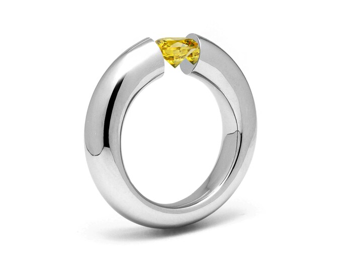 1.5ct Yellow Sapphire Tension Set Tapered Engagement Ring in Stainless Steel by Taormina Jewelry