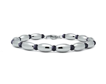 Obsidian and stainless steel olive shaped beaded bracelet by Taormina Jewelry