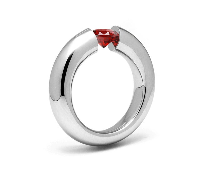 1.5ct Garnet Tension Set Tapered Engagement Ring in Stainless Steel by Taormina Jewelry