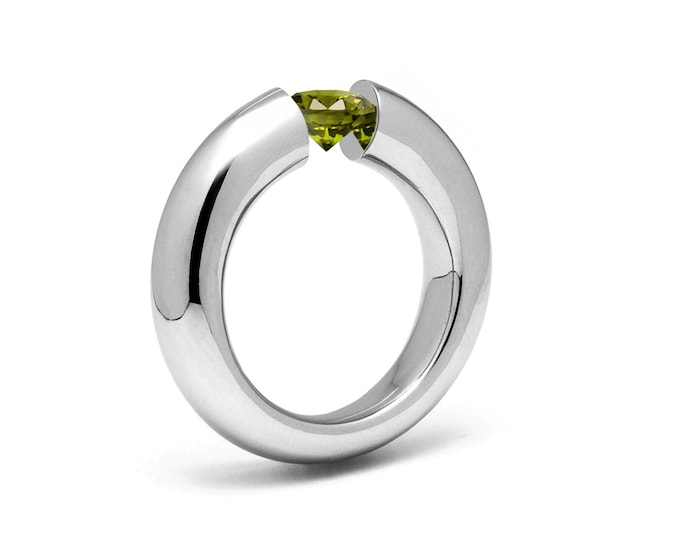 1ct Peridot Tension Set Tapered Engagement Ring in Stainless Steel by Taormina Jewelry