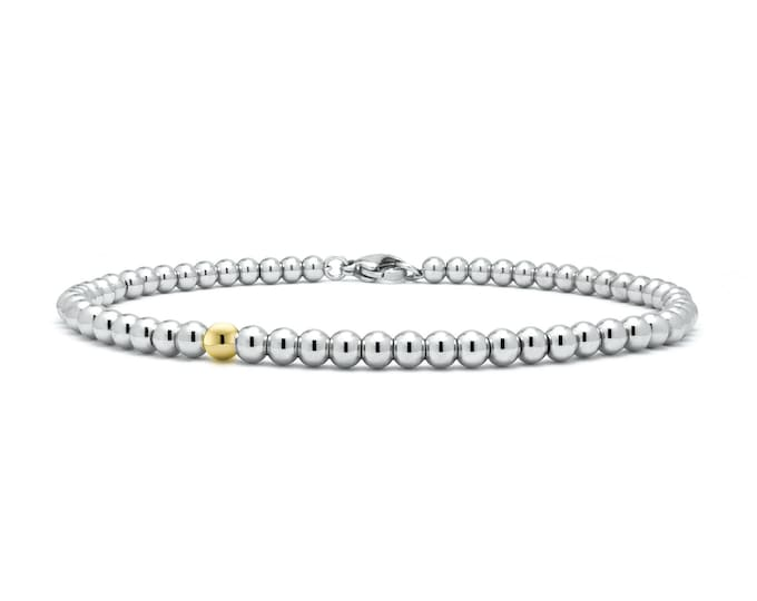 3 mm Beaded Bracelet in Stainless Steel and Gold by Taormina Jewelry