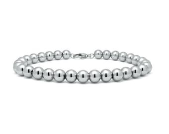 6 mm Beaded Bracelet in Stainless Steel by Taormina Jewelry