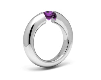 1ct Amethyst Tension Set Tapered Engagement Ring in Stainless Steel by Taormina Jewelry