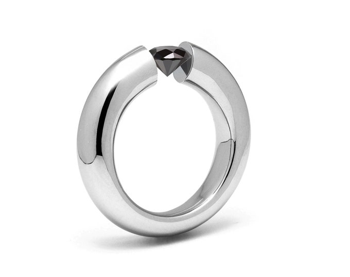 1ct Black Onyx Tension Set Tapered Engagement Ring in Stainless Steel by Taormina Jewelry