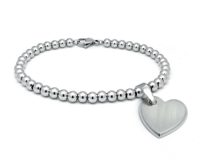 Beaded Bracelet with Heart charm in Stainless Steel by Taormina Jewelry