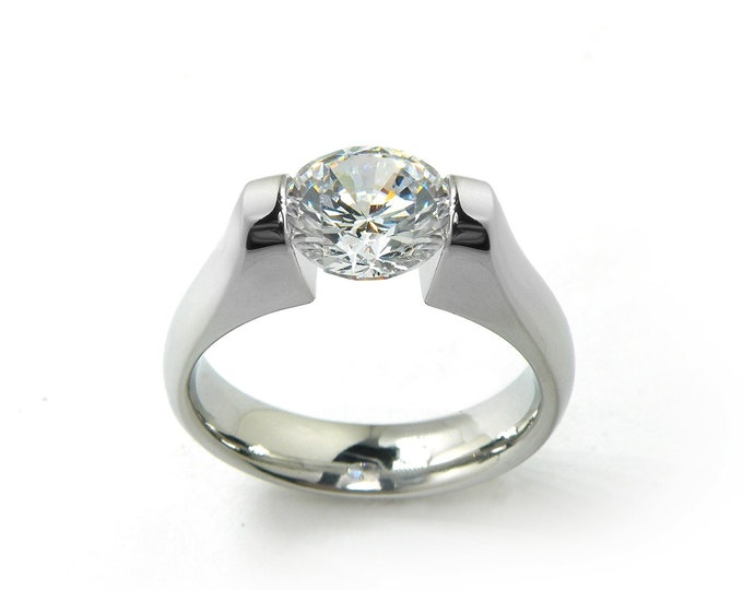 1 ct, 1.5 ct and 2ct White Sapphire Engagement Ring Tension Set in Stainless Steel