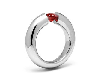 1ct Garnet Tension Set Tapered Engagement Ring in Stainless Steel by Taormina Jewelry