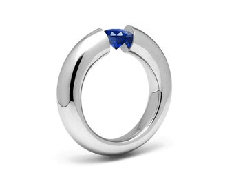 1ct Blue Sapphire Tension Set Tapered Engagement Ring in Stainless Steel by Taormina Jewelry