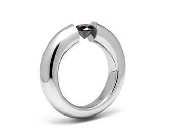1.5ct Black Onyx Engagement Tension High Setting Ring in Stainless Steel by Taormina Jewelry