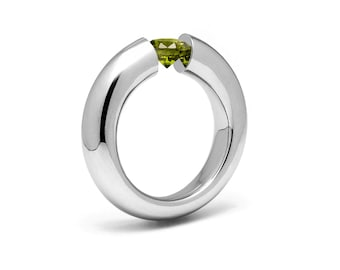 1.5ct Peridot Tension Set Tapered Engagement Ring in Stainless Steel