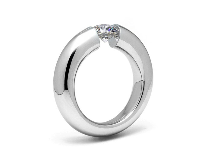 1.5ct  White Sapphire Tapered Engagement tapered Tension Set Ring in Stainless Steel by Taormina Jewelry