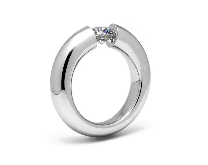 1ct White Sapphire Tension Set Ring Stainless Steel Engagement or Wedding ring by Taormina Jewelry
