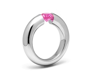 0.75ct Pink Sapphire Tension Set Tapered Engagement Ring in Stainless Steel by Taormina Jewelry