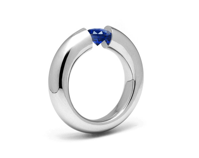 1.5ct Blue Sapphire Tension Set Tapered Engagement Ring in Stainless Steel by Taormina Jewelry