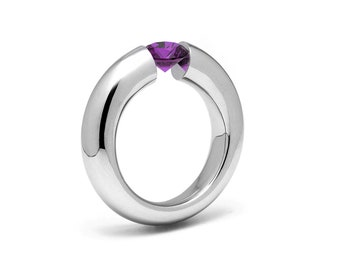1.5ct Amethyst Tension Set Tapered Engagement Ring in Stainless Steel by Taormina Jewelry