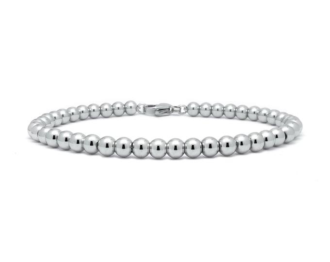 4 mm Beaded Bracelet in Stainless Steel by Taormina Jewelry