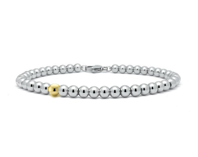 5 mm Beaded Bracelet in Stainless Steel and Gold by Taormina Jewelry