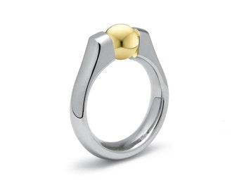Gold and Stainless Steel Tension Ring Two Tone design by Taormina Jewelry