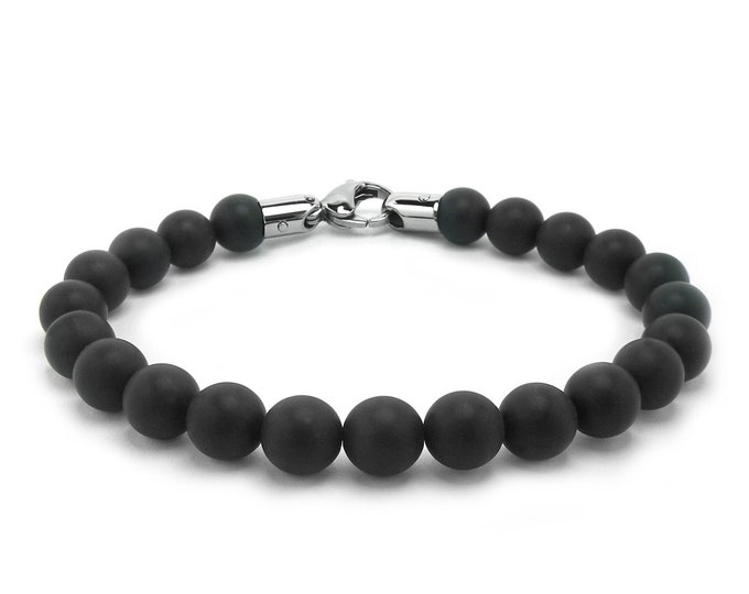 Obsidian Bead Bracelet with Stainless Steel clasp