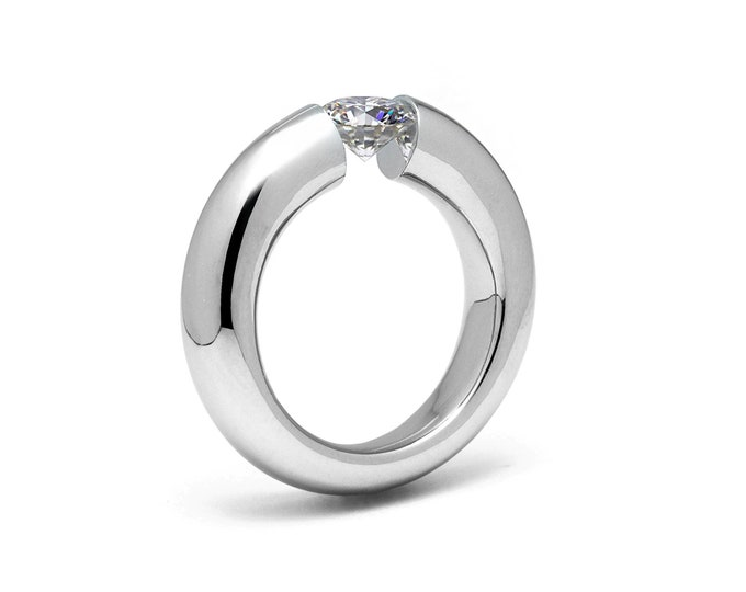 0.75ct White Sapphire Tension Set Ring Brushed Stainless Steel by Taormina Jewelry