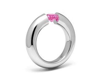 1ct Pink Sapphire Tension Set Tapered Engagement Ring in Stainless Steel by Taormina Jewelry
