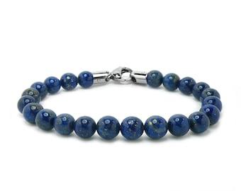 Lapis Lazuli Bead Bracelet with Stainless Steel clasp by Taormina Jewelry
