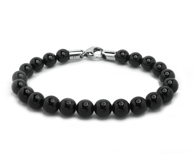 Black Onyx Bead Bracelet with Stainless Steel clasp