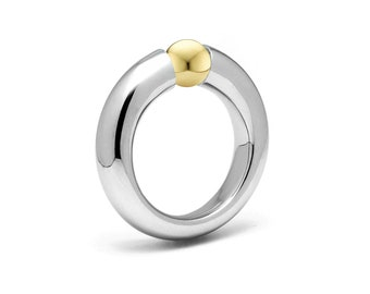 Two Tone Ring Tension Set Gold and Stainless Steel by Taormina Jewelry