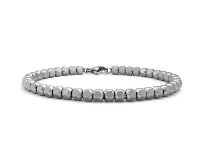 5 mm Hex Nuts Beaded Bracelet in Stainless Steel by Taormina Jewelry