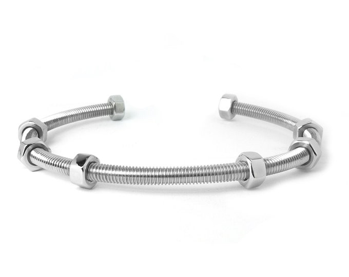 Hex Nut bangle bracelet in Stainless Steel