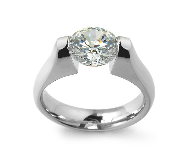 1.5 ct White Sapphire Engagement Ring Tension Set in Stainless Steel