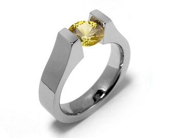 2ct Yellow Sapphire High setting Tension Set Engagement Ring by Taormina Jewelry