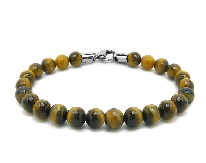 Tiger Eye Bead Bracelet with Stainless Steel clasp
