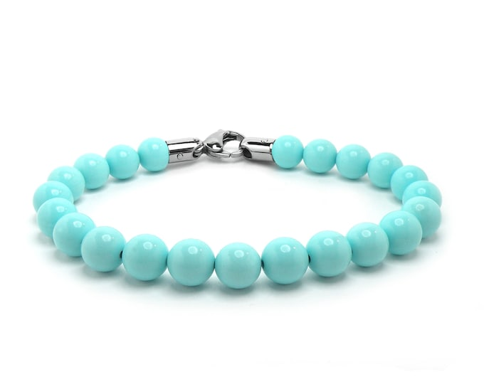 Turquoise Bead Bracelet with Stainless Steel clasp