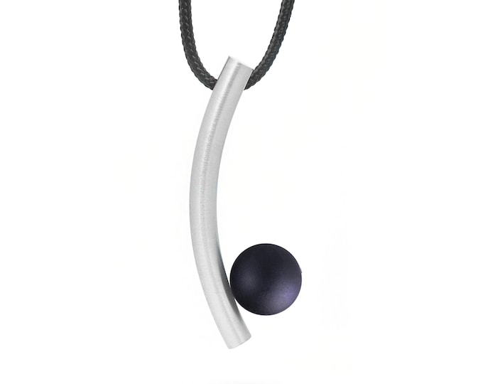 Contemporary Black Obsidian Pendant in Stainless Steel by Taormina Jewelry