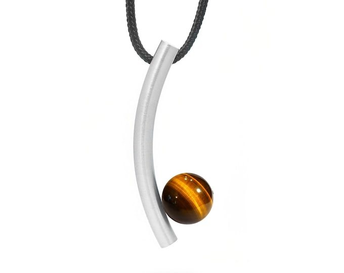 Tiger Eye Pendant in Stainless Steel by Taormina Jewelry