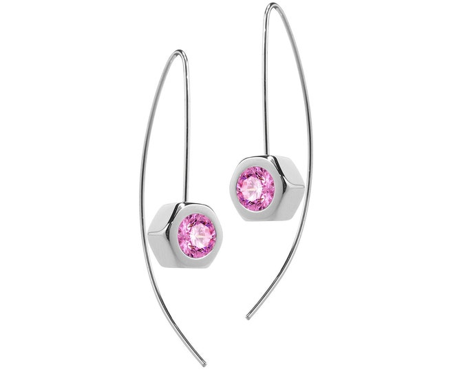 Hex Nut Earrings with Pink Sapphire in Stainless Steel by Taormina Jewelry
