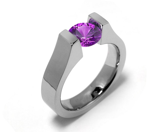 2ct, 1.5ct, 1ct and 0.75 Tension Ring with Amethyst High Tension Setting in Stainless Steel