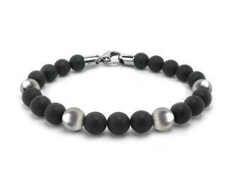 Obsidian Bead Bracelet with Stainless Steel Spheres