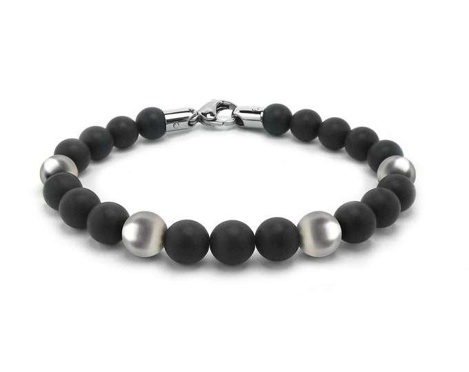 Obsidian Bead Bracelet with Stainless Steel Spheres